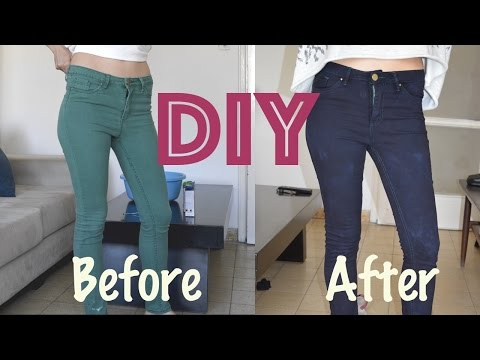 DIY: how to  dye your jeans dark blue