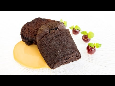 Adam Gray's black treacle and Meantime Chocolate Porter pudding with Porter custard