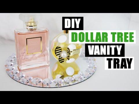 DIY DOLLAR TREE GLAM VANITY PERFUME TRAY | DIY Bling Vanity Tray Tutorial | Dollar Store DIY Mirror
