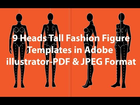 9 Heads Tall Fashion Figure Templates Adobe illustrator PDF and JPEG format