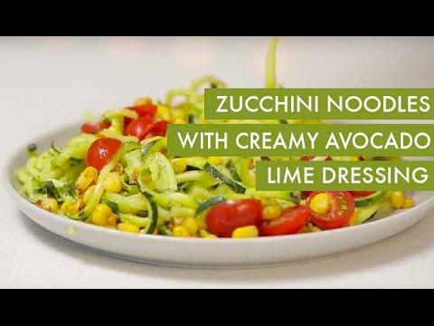 Zucchini Noodles with Creamy Avocado Lime Dressing I Gluten-Free +Vegan Spiralizer Recipe