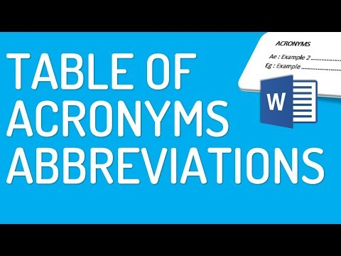 How to make table of acronyms/abbreviations in Word