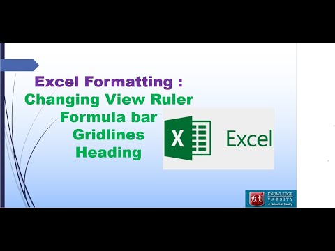 Excel Formatting : Changing View   Ruler, Formula bar, Gridlines, Heading