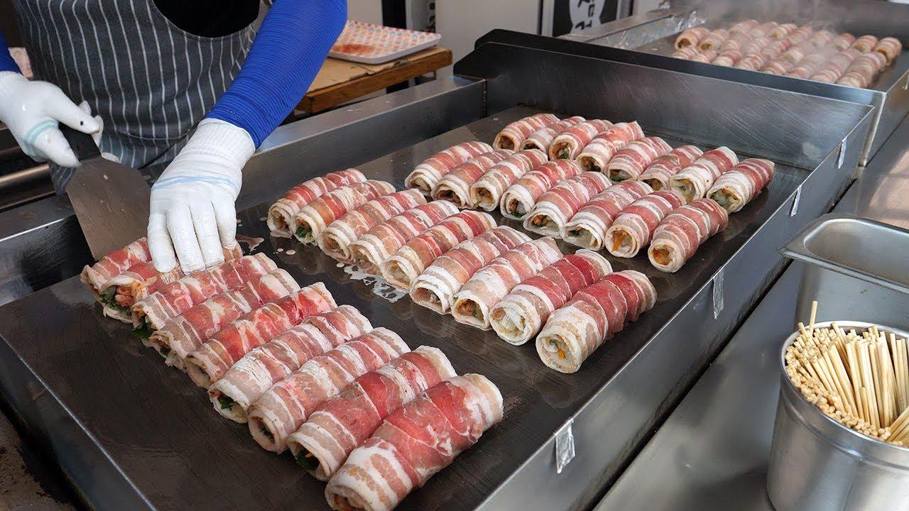 강릉 김치말이삼겹, 줄서서 먹는 곳 / cheese bacon kimchi roll - korean street food