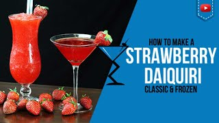 How to make a Strawberry Daiquiri Classic & Frozen  For full Cocktail Recipe details visit: http://www.drinklab.org/strawberry-daiquiri-cocktail/  Ingredients to make a Strawberry Daiquiri Classic & Frozen Cocktail 2 oz White Rum 1 oz Simple Syrup 1 oz Lime Juice 1-2 Strawberry (Classic Daiquiri) 5-6 Strawberries (Frozen Daiquiri) 1 Dash Grenadine  Directions: Muddle 2 strawberries in a strainer, add everything else and shake and strain into your glass.. We present to you the Strawberry Daiquiri Cocktail.    Become a Drink Buddy: http://www.drinklab.org/drinkbuddy.php For more cocktails visit - http://www.drinklab.org Twitter: http://www.twitter.com/drinklab Facebook: http://www.facebook.com/drinklab Instagram: http://www.instagram.com/drinklabcocktails Pinterest: http://www.pinterest.com/drinklab Google Plus: http://plus.google.com/112352858450528206721 Youtube: http://www.youtube.com/cocktailrecipes  Follow Scotty Boxa on: YouTube: http://www.youtube.com/ScottyBoxaTV Facey: http://www.facebook.com/ScottyBoxa Twitter: http://www.twitter.com/ScottyBoxa Instagram: http://www.instagram.com/ScottyBoxa or his website http://www.scottyboxa.com  #Cocktails #CocktailRecipes #CocktailRecipe #Drinks #DrinkLab #Alcohol #Mixology #bartender #Alcohol #Mixologist #WhiteRum #Daiquiri #Strawberry #StrawberryDaiquiri