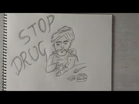 How to draw Stop Drug's cartoon Character Drawing for kids || Drawing poster stop Drugs ||