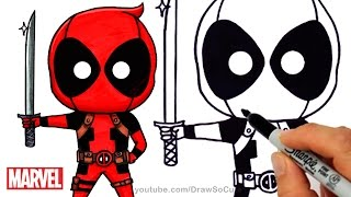 How To Draw Color Deadpool Chibi Step By Step Marvel Superhero
