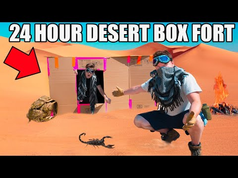 24 HOUR DESERT BOX FORT CHALLENGE!! 📦☀️