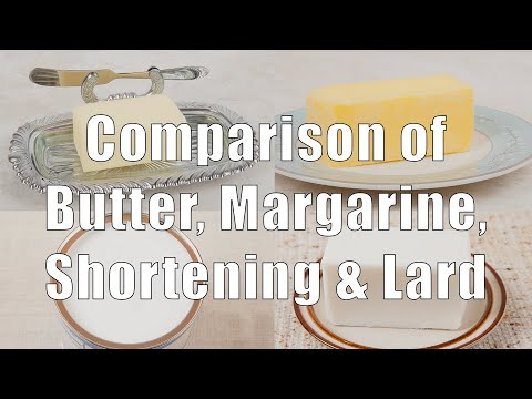 Nutrition Comparison of Butter, Margarine, Shortening and Lard Used For Cooking And Baking