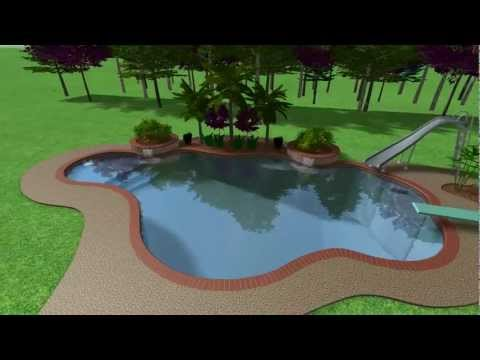 Swimming pool with slide and diving board . . .