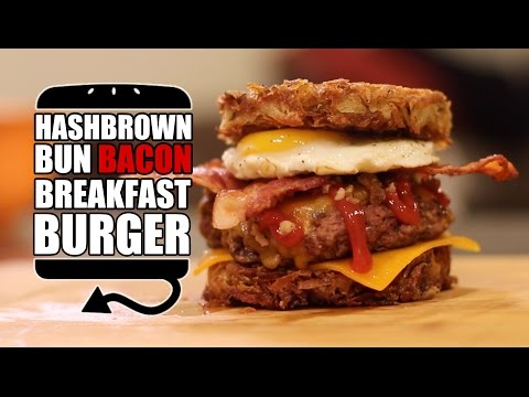Hashbrown Bun Bacon Breakfast Burger Recipe     HellthyJunkFood