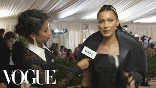 Bella Hadid on Her 10-Pound Sewn-In Veil | Met Gala 2018 With Liza Koshy | Vogue
