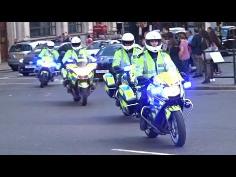 4 London Police Bikes responding 2x | Police Officer waves!