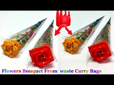 How To Make Single Flower Bouquet From Waste Carry Bags/Valentine day special |Best out of waste