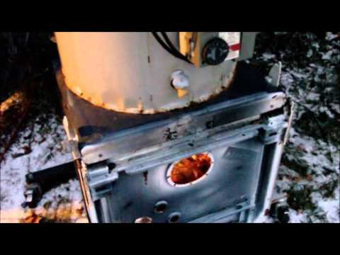 Homemade Wood fired Hot water Heater from junk