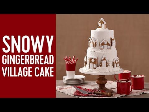 How to Make a Gingerbread Snowy Village Cake