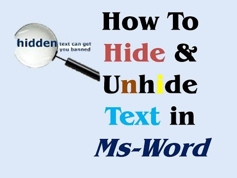 How To Hide /Unhide Text in Msword