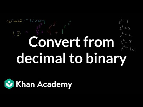 Converting from decimal to binary | Applying mathematical reasoning | Pre-Algebra | Khan Academy