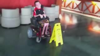 kid goes tokyo drift in wheelchair!