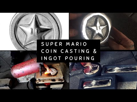 SOLID MARIO BROS COIN MADE AT HOME - ALSO ALUMINIUM MELTING AND INGOT CASTING