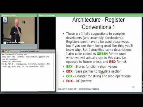 Day 1 Part 1: Introductory Intel x86: Architecture, Assembly, Applications