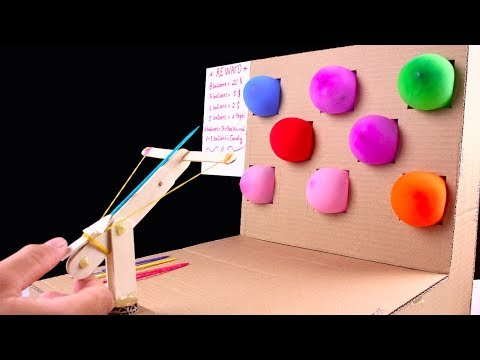 How to Make Desktop Shooting Balloons Game from cardboard - Diy toy for kids