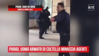 Parigi, uomo minaccia agenti con un coltello in stazione