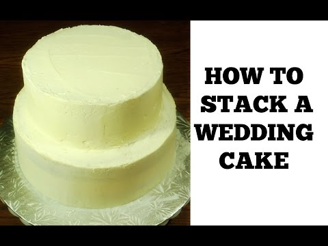 How to Make a Wedding Cake: Stacking a 2 Tier Wedding Cake (Part 1) by (HUMA IN THE KITCHEN)