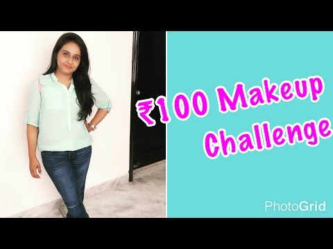 Full face makeup challenge with products under Rs100