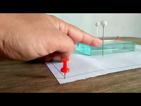 Refractive index of glass slab.