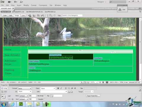Dreamweaver CS6 Tutorial - Part 44 - Working with Templates - Creating a website course