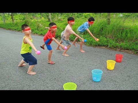 Kids go to School Learn play Blindfold Throw ball into Basket   Song for Childrens