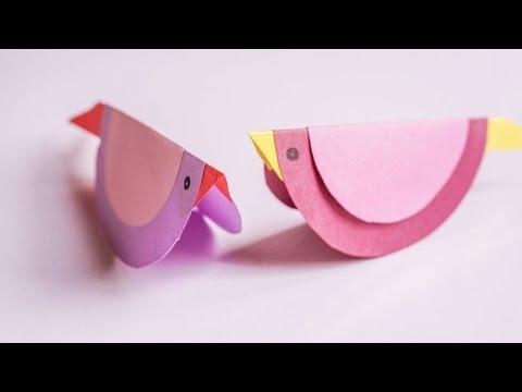 Swinging Paper Bird | Kids Craft Ideas | CraftiKids #3