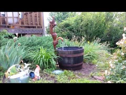 Making a well pump whiskey barrel fountain
