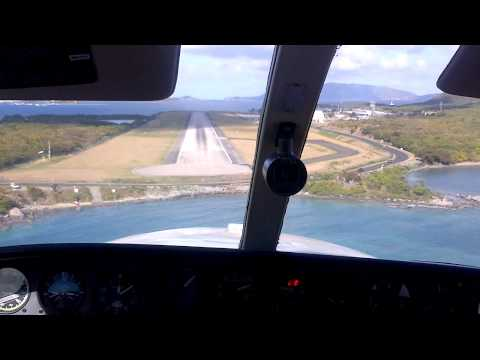 Cockpit View Landing at Tortola BVI Cessna 404