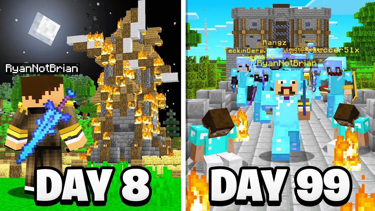 Surviving 100 Days in a Minecraft WAR.. (Medieval)