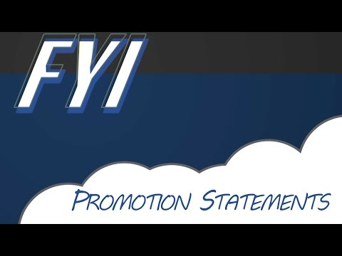 FYI: Promotion Statements