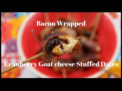 Bacon Wrapped cranberry goat cheese stuffed dates!