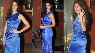 Katrina Kaif Hot In Silk Dress At Arpita Khan Christmas Party 2017