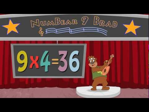 9 TIMES TABLE MULTIPLICATION SONG WITH NUMBEAR 9 - BRAD