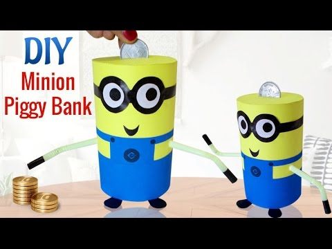 DIY Minions Crafts for Kids Projects : How To Make Recycled DIY Piggy Bank Craft   Kids Activities