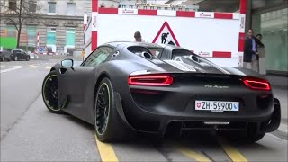 Matt Black Porsche 918 Spyder with Weissach Package in Zürich: Startup & Revs!