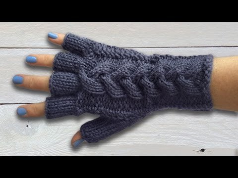 LADIES FINGERLESS GLOVES WITH PLAITED CABLE -  Part Two The Main Glove