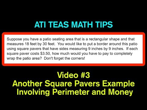 TEAS Math Tips - Video #3: Another Square Paver/Perimeter Example