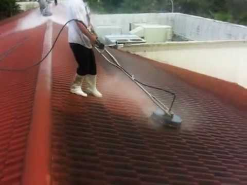 SURFACE CLEANING A ROOF USING 4 SURFACE CLEANERS ON ONE HUGE TILE ROOF. Dan Swede 800-666-1992