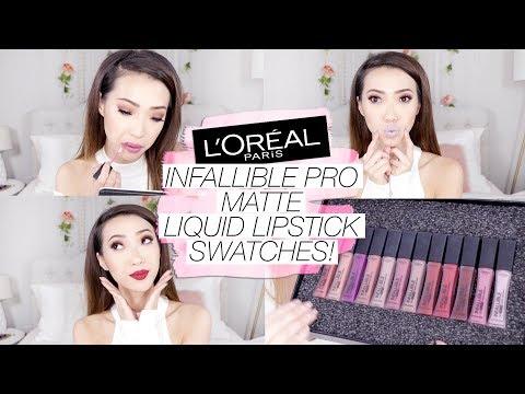 BEST Drugstore Liquid Lipstick?! L'Oreal Infallible Pro Matte Liquid Lipstick SWATCHES!