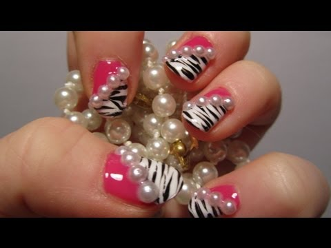 Zebra Print Hot Pink Design with 3D Half Pearls Nail Art Tutorial