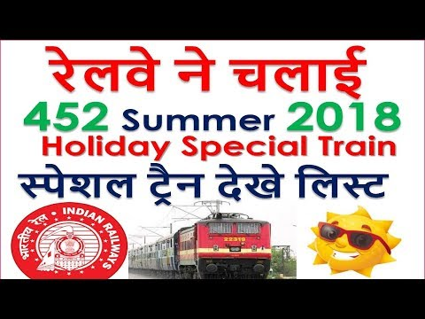 रेलवे ने चलाई  452 Summer 2018 Holiday Special Train, IRCTC Special Trains LIST by Railway