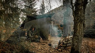 2 NIGHTS alone in AUTUMN forest - Catch and cooking fish - Harvest CHAGA \u0026 Berries - Solo Bushcraft