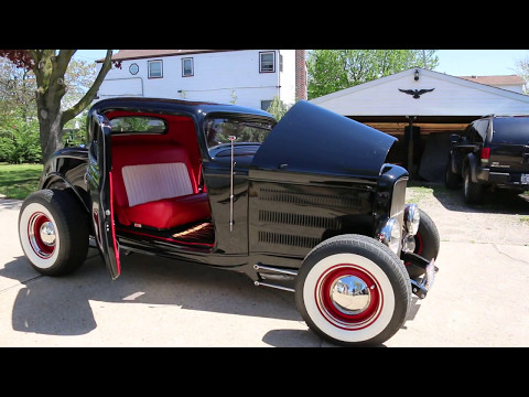 1932 Ford 3 Window Hot Rod For Sale~Only 559 Miles on Build~350 Motor~